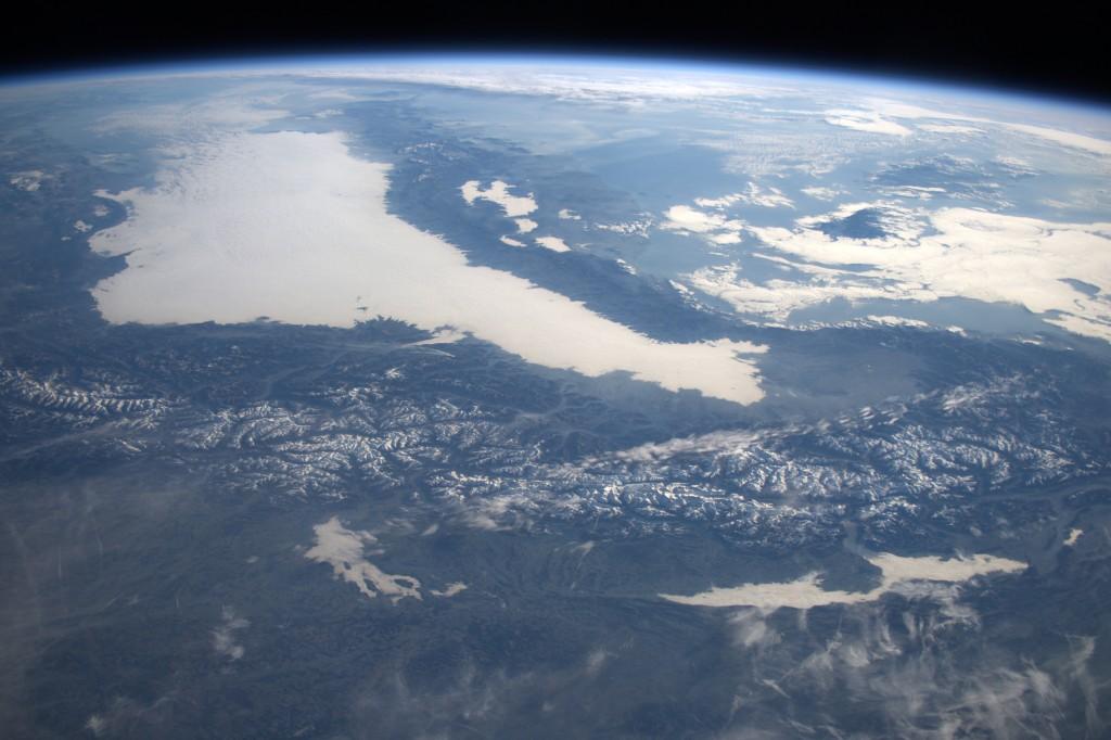 Die Alpen am 27.12.15 von der ISS aus fotografiert. Foto: ESA/NASA