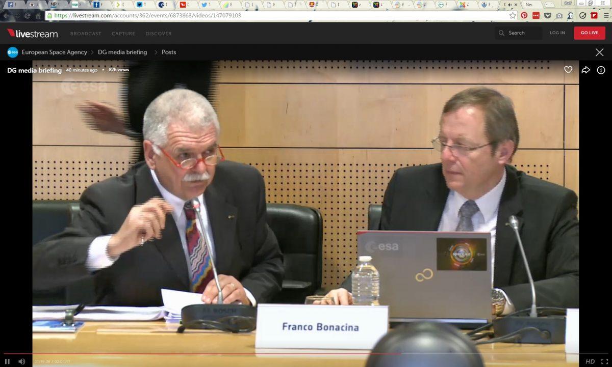 ESA-Pressekonferenz – mit meiner Beteiligung