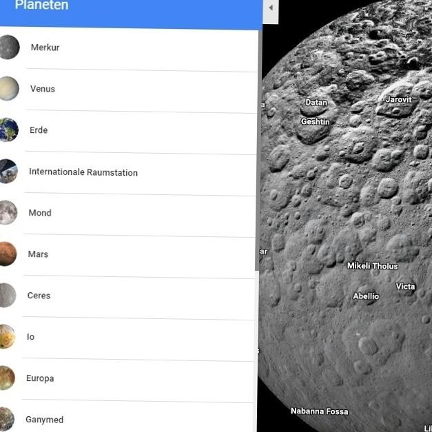 Google Space Maps – Monde und Planeten mit der Maus erkunden